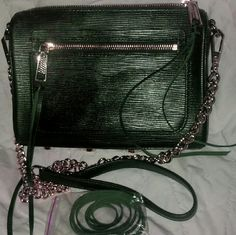 Rebecca minkoff  Avert hunter green crossbody This is a hunter green color Top zip closure Exterior zip pocket Interior card pocket Lined interior Hunter green leather Bottom protective metal feet Gold hardware no dust bag This is NWOT comes with extra leather straps for zipper Rebecca Minkoff Bags Crossbody Bags