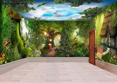 3D Fantacy Wonderland Tree House Wall Murals Wallpaper Decals Art Print IDCQW-000317