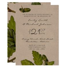 Fall OAK Wedding Invitations Acorns Leaves Rustic - script gifts template templates diy customize personalize special