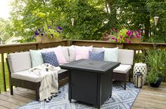Need small deck decorating ideas? See how we maximized the space on our small deck to include both a seating area and a dining area. Outdoor Deck Decorating, Patio Decorating Ideas On A Budget, Outdoor Decor, Patio Ideas, Backyard Ideas, Porch Decorating, Outdoor Ideas, Decor Ideas, Balcony Ideas