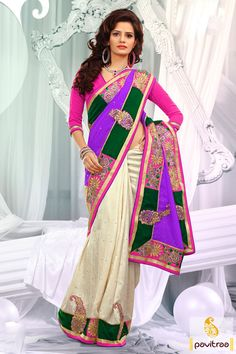 Off white lavender pink designer Saree which is embroidered, resham worked and lace patti worked. The finest velvet and dhupion made beautiful attire.
