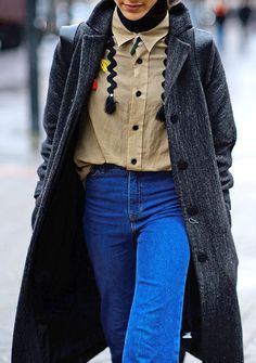 - Take a borrowed-from-the-boys approach to denim by teaming it with a tailored topcoat and menswear button-down shirt.