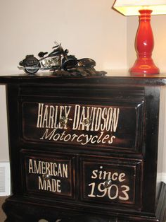 Harley Davidson Subway Art end / side table. Great storage for your biker gear, or table for a man cave, garage, or funky bedroom side table.