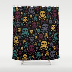 Skulls Shower Curtain - $68.00.  Made from 100% easy care polyester #showercurtain #bath #bathroom #skulls #skullandcrossbones #teal #yellow #plum #homedecor