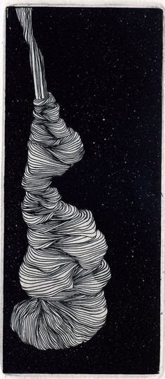 Hand made intaglio print on heavy ivory fine art archival acid free rag paper.  Line etch on copper plate with aquatint in the background. This abstract image is reminicent of yarn, cocoons and odd shapes in nature.