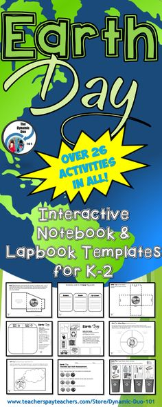 Earth Day Interactive Notebook / Lapbook Activities for Kindergarten, 1st and 2nd Grade (60 pages with over 26 engaging, interactive activities!)  Celebrate Earth Day all through April!