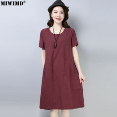 3683af4d424b New Women Summer Dresses Fashion Casual Loose Cotton Linen Short Sleeve  Wild Striped Vintage