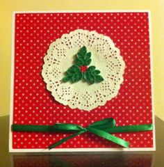 Christmas Card - Quilled Holly