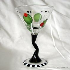 Hand Painted Olives Martini Glass by LynetteSadowyStudios on Etsy,