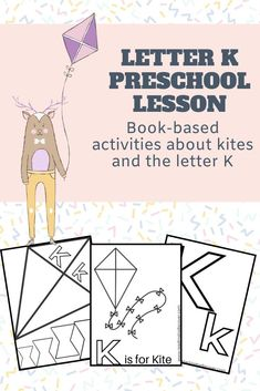 Letter K Activity for Preschoolers. This fun printable offers a free letter K coloring page, as well as kite templates and a book list.  This is a great activity for preschoolers and kindergarteners. It offers a fun kite book list and a fun activity to do together.  #readingtodiscover #letterkactivity #letterkforpreschool #letterk #goflyakite #kisforkite #kitepreschoolactivity