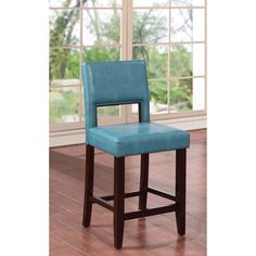 Buy a few of these Zeta Stationary Bar Stools to complete the look of your modern home decor. This chair is upholstered in ocean blue fabric. The sturdy frame is constructed of solid hardwoods allowing it to be versatile enough for any room in your home.