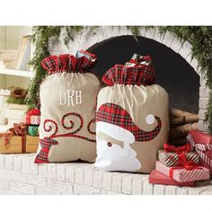 """""""Santa"""" and """"Reindeer"""" canvas Christmas sacks with red tartan faux cuffs and drawstring closures from Mud Pie. Sack features reindeer or Santa appliques with red tartan accents. Perfect for personaliz Christmas Canvas, Christmas Bags, Unique Christmas Gifts, Christmas Projects, Winter Christmas, Handmade Christmas, Christmas Sack Ideas, Christmas 2017, Tartan Christmas"""
