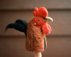 Leonard the Rooster, a needle-felted original.
