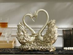 Swan Heart Sculpture - Gold, Silver or White