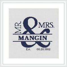 Custom wedding Cross Stitch Pattern PDF Mr and Mrs by Xrestyk