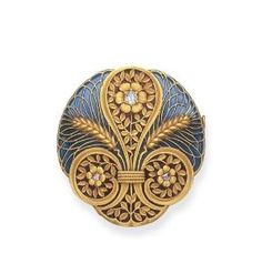 Art Nouveau. An Enamel and Diamond Brooch. Of circular outline, the blue and red plique-à-jour enamel plaque set with twin wheat sheaves and scrolling foliate designs, each centering upon a rose or old mine-cut diamond accent, mounted in 18k gold, circa 1900 by hester