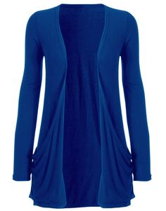blue cardigan   ... are here: Home > Royal Blue Drape Pocket Open Front Jersey Cardigan