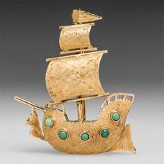 Ship Brooch Pin w/ Articulating Sails in 18K Gold -