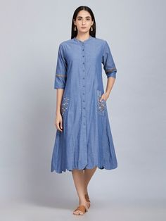 The Loom- An online Shop for Exclusive Handcrafted products comprising of Apparel, Sarees, Jewelry, Footwears & Home decor. Frock Patterns, Desi Wear, Denim Shirt Dress, Linen Dresses, Ethnic Fashion, Modest Outfits, Maternity Dresses, Suits For Women, Blouse Designs