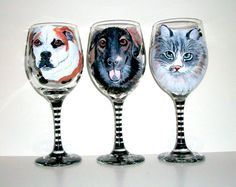 Custom,Painted,Pet Portraits Set of 3 Hand Painted Wine Glasses,Pets,Pet Lover,Dog, Cat, Horse,Personalized, Paw Prints