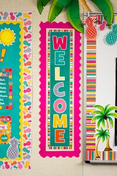 Tropical punch welcome banner classroom preschool classroom, Classroom Welcome, Kindergarten Classroom Decor, Classroom Decor Themes, Classroom Door, School Decorations, Classroom Design, Classroom Displays, Classroom Organization, Kindergarten Posters