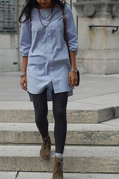 another tunic from a man's dress shirt. this is my idea of the perfect shirt dress.