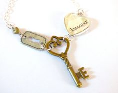 OOAK Imagine Skeleton Key Necklace Pendant Heart Glass Open Lock Steampunk Charm Word Statement Jewelry Repurposed Recycled Upcycled Paper