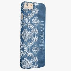 iPhone 6 Plus Cases | Sapphire Blue Vintage Damask Pattern and Name Barely There iPhone 6 Plus Case