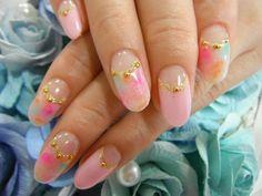 nail art design, pink base, colorful, gold line #shortnail #nailart