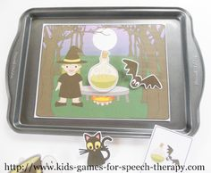 Halloween Speech Therapy Activities - cookie sheet activities for working on prepositions and pronouns.