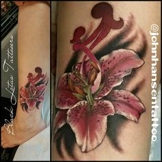 Beautiful memorial piece with mother/daughter symbol. Always honored to do such important tattoos, plus I can't restate enough how much I LOVE doing flower tattoos! #lilytattoo #stargazerlily #motherdaughtertattoo #realistictattoo #flowertattoo #swashdrive @swashdrive #blacklotustattooers @blacklotustattooers