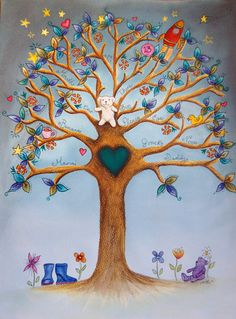 family/memory trees illustrated by hand by Artbysarahplayfer
