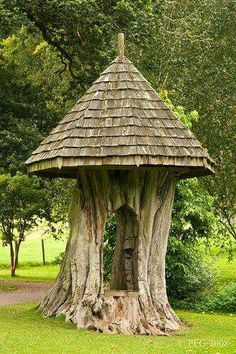 I love this! they carved out the old tree stump and put a roof on it!