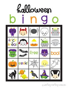 halloween bingo; cute pics; could use for Halloween cards?