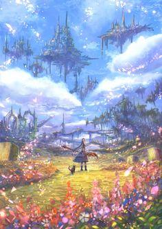 New Fantasy Art Magic Wallpaper 15 Ideas Fantasy City, Fantasy Places, Fantasy Kunst, Fantasy World, Fantasy Art Landscapes, Fantasy Landscape, Fantasy Artwork, Landscape Art, Anime Kunst