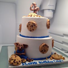 If You Give A Mouse Cookie cake. Fondant mouse and topper, real chocolate chip cookies.