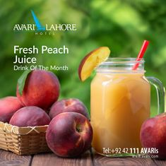 Light on calories & loaded with taste. Our drink of the month is just what you need. Order and enjoy the fresh and flavorsome kick of peaches this Summer! Peach Juice, Juice Drinks, Peaches, The Fresh, Hotel Offers, Events, Fruit, Summer, Food