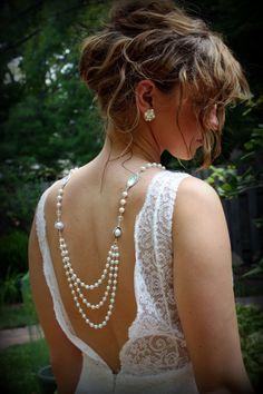 Backdrop Necklace-Pearl Necklace-Wedding Jewelry-Vintage Wedding-Bridal Necklace-Wedding Necklace-Dream Day Designs. $99.00, via Etsy.