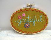 Gratitude Embroidery Hoop Framed Wall Art --- Made to Order