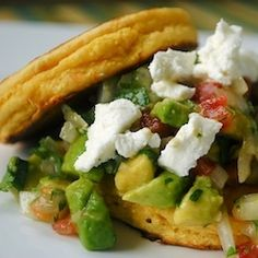 Corn Cakes with Avocado Goat Cheese Salsa.  Kinda like the healthy version of sweet corn tamale cakes, but better!