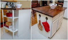Now we have plenty of counter space! DIY kitchen island #diy #love home