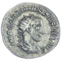 Gordianus III. Antoninian, Av: IMP GORDIANVS PIVS FEL AVG Büste mit Strahlenkrone, Drapierung und Kürass nach rechts, Rv: FORTVNA REDVX Fortuna sitzt nach links hält ein Ruder in der Rechten, ein Füllhorn in der Linken, ein Rad lehnt am Thron