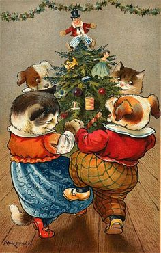 These free Victorian Christmas cards feature winter snow scenes, holly, icicles, pine trees and other iconic Christmas images. Cat Christmas Cards, Old Christmas, Christmas Animals, Victorian Christmas, Christmas Greetings, Christmas Dance, Christmas Postcards, Vintage Christmas Images, Vintage Holiday