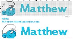 Matthew name with baby smurf