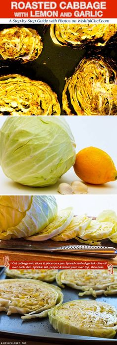 Roasted Cabbage with Lemon and Garlic -- I put it in the oven for half the time because it was browning quickly. Whole Food Recipes, Vegetarian Recipes, Cooking Recipes, Healthy Recipes, Think Food, I Love Food, Healthy Snacks, Healthy Eating, Clean Eating