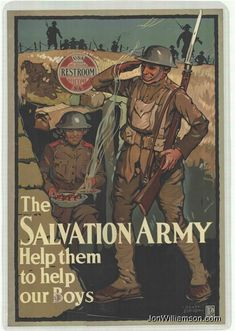 Salvation Army Vintage Poster WWI (My grandfather Zach Carter Cummings spoke well of TSA Lassies) Link is to TSA History web site where there are other posters & photos