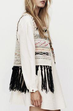 lostinfiber:  blueberrymodern/hand woven vest with fringe 'nanushka'