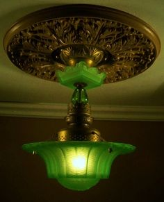 Super RARE Vaseline Glass 30's Art Deco Ceiling Light Fixture Chandelier
