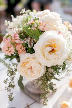 Pretty rose centerpiece: http://www.stylemepretty.com/2015/07/20/rustic-elegant-santa-barbara-summer-wedding/ | Photography: Michael & Anna Costa - http://www.michaelandannacosta.com/
