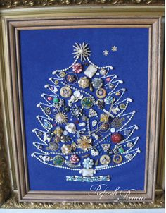 The Shabby Nest: Frugal Friday Christmas tree made out of Grandmothers's jewelry